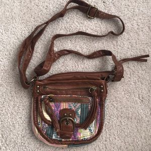 Tribal and leather crossbody bag